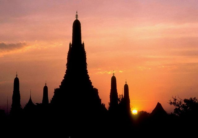 temple sunset